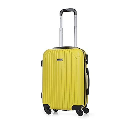 ITACA - Maleta de Viaje Cabina Rígida 4 Ruedas 55 cm Trolley ABS. Equipaje de Mano. Resistente y Ligera. Mango y 2 Asas. Vuelos Low Cost Ryanair, Candado T71550, Color Mostaza