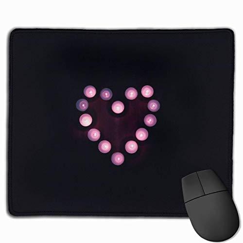 Lila und Weiß Teelicht Kerzen Rechteckiges rutschfestes Gaming-Mauspad Tastatur Gummi-Mauspad für Heim- und Büro-Laptops