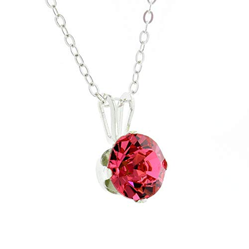 pewterhooter 925 Sterling Silver Pendant for Women Made with Sparkling Tokyo Red Crystal from Swarovski. Gift Box. Made in The UK.