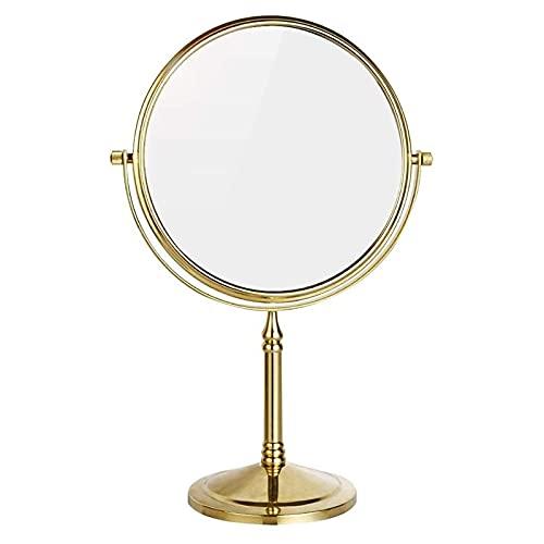 HGDM Espejo De Baño Espejo De Maquillaje Espejo De Doble Cara Independiente Mesa Giratoria Espejo Cosmético Mesa Espejo De Tocador De Escritorio con Espejo De Pie De 8 Pulgadas Espejo De Maquillaje