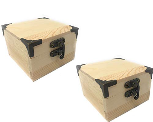 Vetrineinrete Scatola in Legno per decoupage 2 Pezzi scatoline portagioie Cofanetto con Chiusura a Clip portaoggetti Contenitore per Gioielli minuterie F46