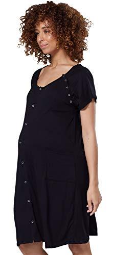 HAPPY MAMA Damen Umstands Stillen Krankenhaus Kleid Nachthemd Seitentaschen 1029 (Schwarz, 40, M)