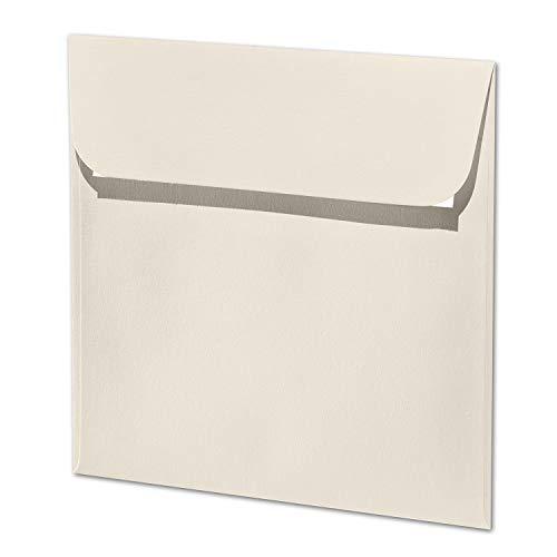 ARTOZ 25x quadratische Briefumschläge ivory (Creme) 100 g/m² - 16 x 16 cm - Kuvert ohne Fenster - Umschläge mit Haftklebung