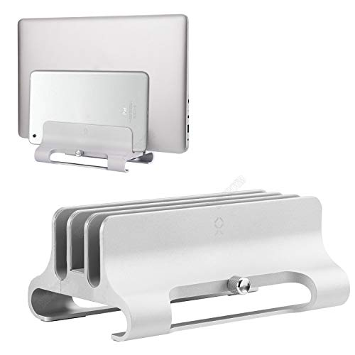Becrowm ノートパソコン 縦置き スタンド 3台立て macbook 縦置き スタンド pcスタンド 縦置き 幅調節可 クラムシェルスタンド パソコンスタンド 縦置き アルミ製 pcホルダー(シルバー)