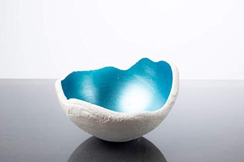 Lichtschale gletschereis blau - S (15cm) - Beton weiss - Unikat handmade - Geburtstagsgeschenk - Deko - Weihnachtsgeschenk