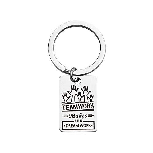 KUIYAI Teamwork Keychain Teamwork Make The Dream Work Keyring Team Gifts (Silver)