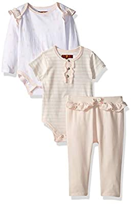 7 For All Mankind Baby Girls Long, Short Sleeve Bodysuit, and Pant Set, Pearl Dot/Pearl Stripe, 3-6 Months