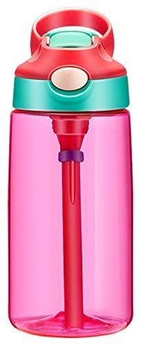 Taza de agua de 16 onzas, jarra de agua a prueba de fugas con tapa de paja, botella de bebida al aire libre, para fitness, gimnasio y deportes al aire libre Jsmhh (color de rosa)