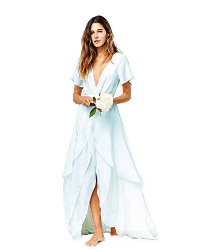 Honeydress Women's Slits Beach Bohemian Wedding Dresses Short Sleeves V Neck Chiffon Bridal Gowns Blue