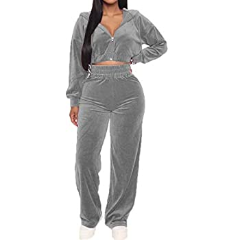 Womens Velvet 2 Piece Outfits- Long Sleeve Jacket Crop Tops Stretchy Long Pants Tracksuit Sets Gray S