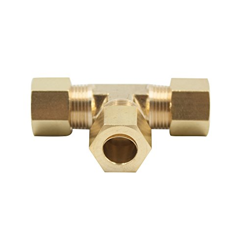 Vis Brass Compression Tube Fitting, Tee, 1/4