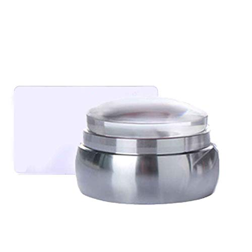 Lidahaotin 3.5 cm d'échecs en Silicone Transparent têtes Clou Stamper Ongles en avec grattoir métal poignée en Plastique ongle estampage Joint Silver