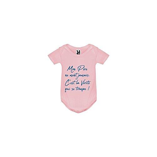 TSHIRT MK Body bébé - Mon Papa ne Ment jamais - Bébé Fille - Rose - 18MOIS