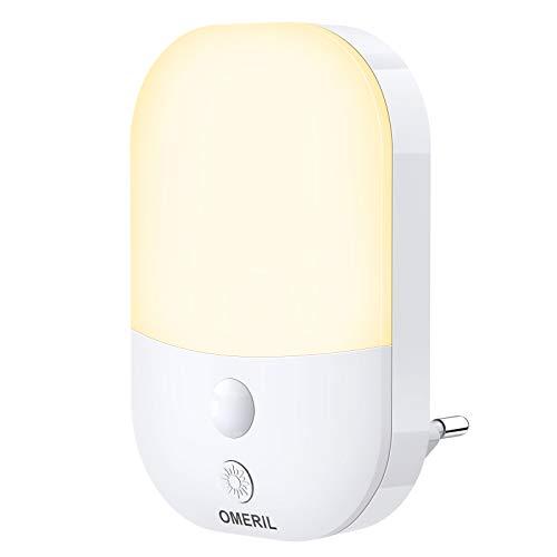 Veilleuse LED, OMERIL Lampe Nuit Murale Automatique 5 Niveau Luminosité Plug-and-Play avec Capteur de Lumière, Veilleuse Enfant pour Chambre Bébé, Cuisine, Couloir, Escalier, Salon, etc. Blanc Chaud