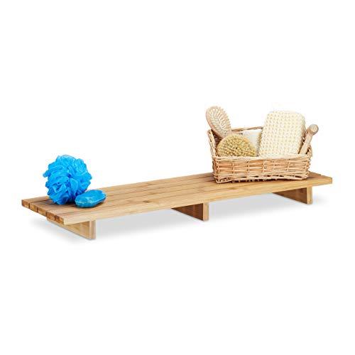 relaxdays 10021555 Pont de Baignoire Tablette Porte-Savon Support en Bois de Bambou HxlxP: 6 x 70 x 22 cm Moderne pour Salle de Bain, Nature