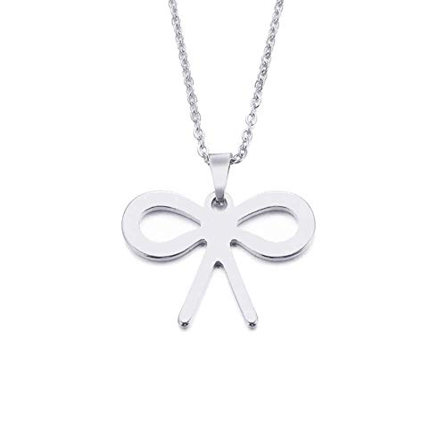 Jewelry Lover'S Bowknot Gold And Silver Color Pendant Necklace Engagement Jewelry,Colour:Gold-color (Color : Silver)