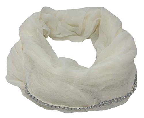 Betsey Johnson Chain Link Infinity Scarf (White)