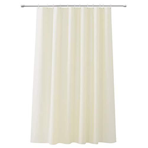 CLOFY Duschvorhänge, Duschvorhang aus Polyester, Anti-Schimmel, Uni Grey - Anti-Bakteriell,Wasserdichtes Design, mit 12 Duschvorhangringen, 180 x 180 cm, Beige