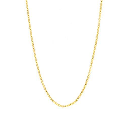 Collier avec chaîne Elbluvf en acier inoxydable et plaqué or 18 carats - De 43 cm - Pour femme