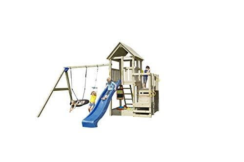   MASGAMES   Parque infantil Torre Penthouse XL con columpio doble   asientos planos de plástico verde y cuerdas regulables   Rampa de tobogán de 300 cm de largo   Uso doméstico   madera tratada  