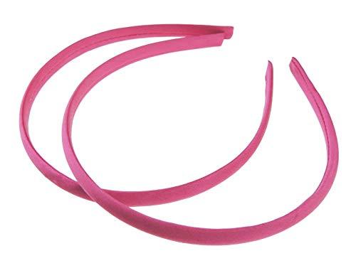 Lot de 2 serre-têtes fins recouverts de satin pour filles Fuchsia 1 cm