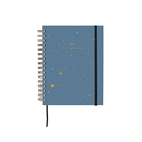 UO Agenda 2022 Semana Vista. Luna. Papel 100gr, 126 pegatinas, goma elástica, cinta registro, separadores mensuales y bolsillo.16,8x22 cm, Negro, 8435449351895