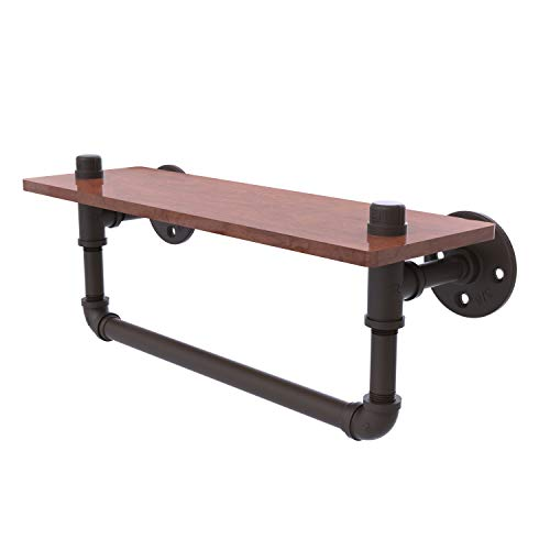 "Allied Brass P-460-16-WSTB Pipeline Collection 16 Inch Ironwood Towel Bar Wood Shelf, 16"", Oil Rubbed Bronze"