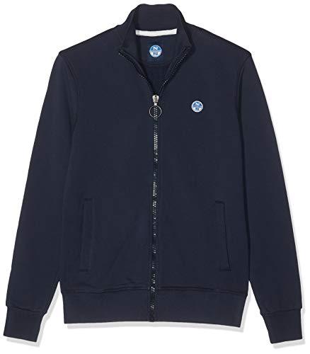 NORTH SAILS Herren Sweatshirt in Navy Blau Baumwolle Entspannte Passform mit Hohem Kragen - Reißverschluss und Fronttaschen - M