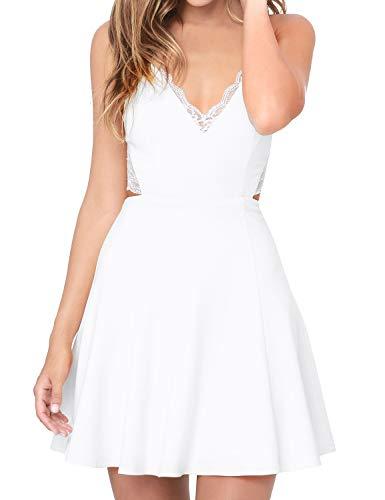 FANCYINN Sommerkleid Damen Spaghettiträger Minikleid Spitze Rückenfrei Kleid Kurz Elegant Weiß