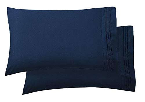 Luxury Ultra-Soft 2-Piece Pillowcase Set 1500 Thread Count Egyptian Quality Microfiber - Double Brushed - 100% Hypoallergenic - Wrinkle Resistant, Standard Size, Navy Blue