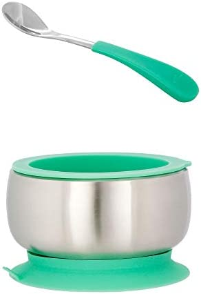 Avanchy Infant Stainless Steel Silicon Suction Bowl with Lid Infant Spoon Stainless Steel Kids product image