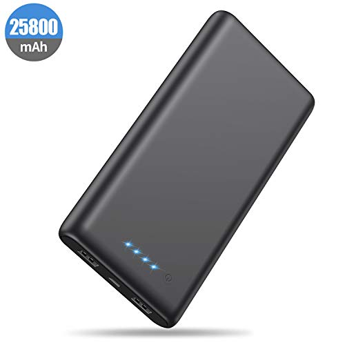 HETP Powerbank 25800 mAh Externer Akku, Kompakt Powerbank Power Pack 2 Port Output Hohe Kapazitat Tragbares Ladegerät mit LED-Statusanzeige, kompatibel mit Handy & Tablet