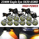 TABEN Lot de 10 feux de brouillard LED 7,5 W Eagle Eye 23 mm double couleur blanc/ambre 5630 6SMD pour moteur de voiture ou moto 12 V