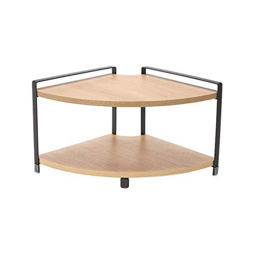 WJSW Küchenregale Home Stahl Holz Eckzarge Eckzarge Gewürzregal Lagerregal Desktop Lagerregal Gewürz (Größe: 28,5 * 28,5 * 20 cm)