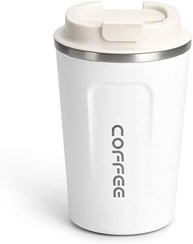Taza de Café, 18oz Vaso Termico Café Termo Doble Pared Aislamiento al vacío Acero Inoxidable con Tapa a Prueba de Fugas Taza Reutilizable Ecológica para Café té y Cerveza(Blanco)