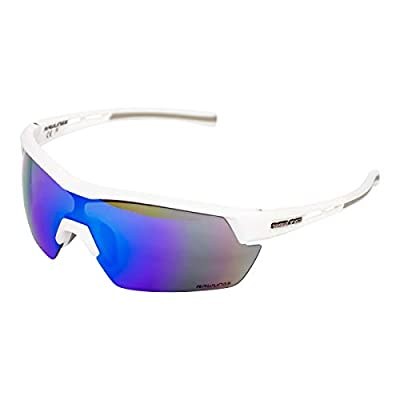 Rawlings RY134 Youth Baseball Shield Sunglasses Lightweight Sports Youth Sun Glasses for Running, Softball, Rowing, Cycling, White/Blue