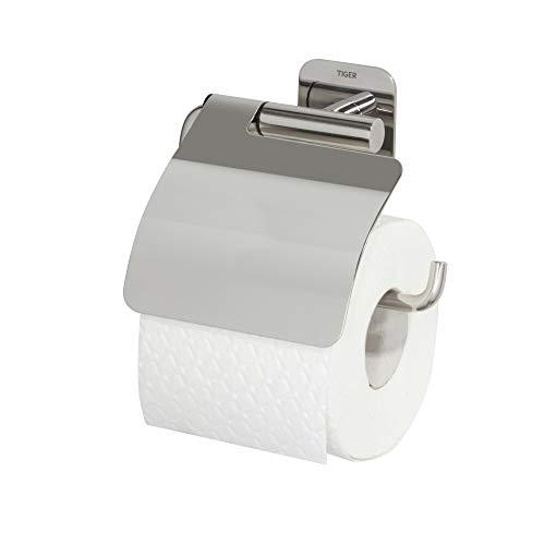 Tiger Colar Toilettenpapierhalter mit Deckel zum Kleben, Edelstahl poliert, mit integrierter Klebefolie zur Montage ohne bohren