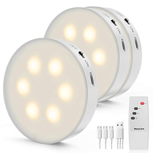 Luz Nocturna Morpilot LED Luz de Noche con Recargable USB, 3PCS Luces Armario LED con Control Remoto, Regulable Lámpara Inalámbrica para Cocina, Vitrina, Tocador, Pasillo, Escalera etc