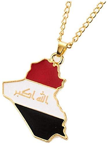 Yaoliangliang Collar con Colgante de Bandera de Mapa de la República de Irak, Collar de Patriota iraquí, Collares con mapas Dorados para Hombres, joyería del día Nacional, Accesorios de Regalo