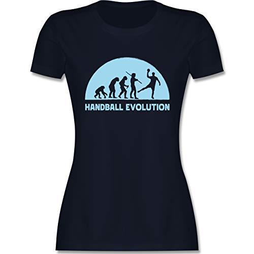 Handball - Handball Evolution hellblau - XL - Navy Blau - T-Shirt - L191 - Tailliertes Tshirt für Damen und Frauen T-Shirt
