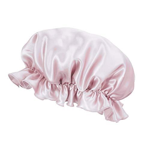 キュライン シルク ナイトキャップ シルク 天然シルク100% ヘアキャップ 保湿 美髪 ヘアケア 就寝用 ベビーピンク