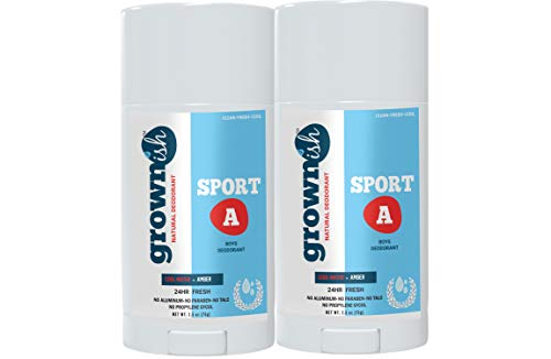 Natural deodorant for Boys 8 up, Aluminum-Free, SPORT A, Kids deodorant, Fresh + Clean, 24Hrs Odor protection (Pack of 2)