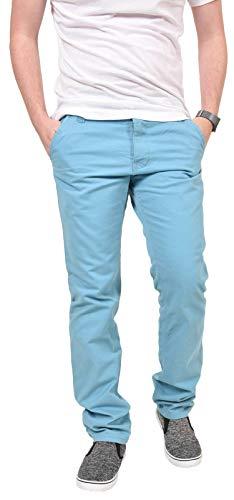 Kushiro - Pantaloni chino a gamba diritta, in cotone spigato, aderenti, da uomo Delphinium Blue 40W x 31L