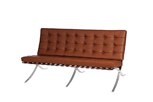 Vetrostyle Sessel Sofa Replika Barcelona Mies Van der Rohe Echtleder 2-Sitzer braun