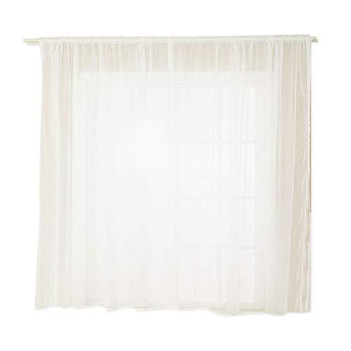 Combort 2 Piezas Moda Sala de Estar Dormitorio Ventana Cortina Transparente para Sala de Estar Longitud Varilla Bolsillo Paneles de Cortina(Blanco)