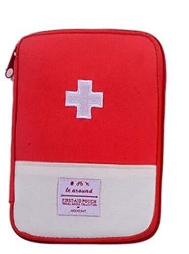 SZB ミニ救急箱 携帯用救急箱 ミニ救急バッグ 常備薬収納 トラベルポーチ 小型 軽量 防水 家庭 旅行 外出 旅行 (赤, S)