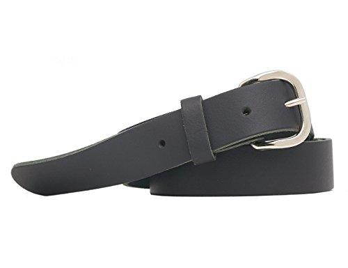 Echtledergürtel Ledergürtel 3cm Breite Deutsche Qualität BW 90cm bis 150cm Überlänge Sondergröße Gürtel Leder Herren Damen Farben Muster Motive Belt Buckle Leather Belt Real Leather Genuine (135cm, schwarz)