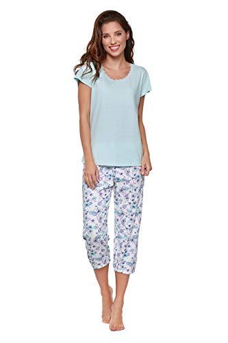 Moonline moderner und bequemer Damen Capri-Pyjama, aus 100% weicher Baumwolle, Mint, Gr. M