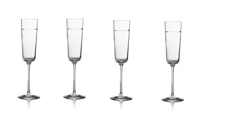 "Michael Aram Hammertone Champagne Flutes (Set of 4 glasses ) 9.75""H, 6 Oz.; Non-Lead Crystal"
