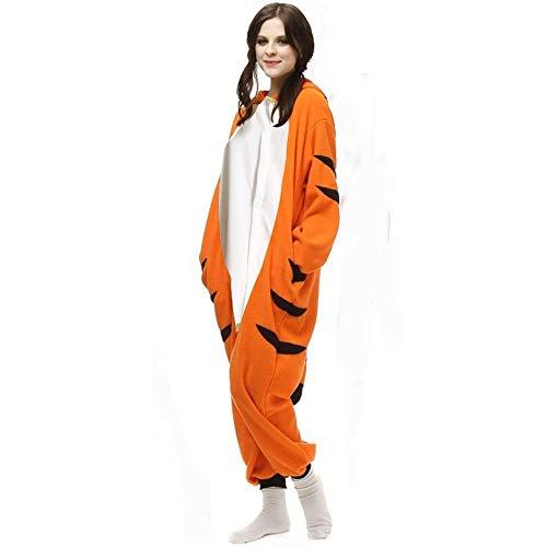 Kigurumi Adultos Tigre de Bengala Onesies Dibujos Animados Pijamas Combinados Animal Cosplay Disfraz para Halloween S Tigre de Bengala Onesie
